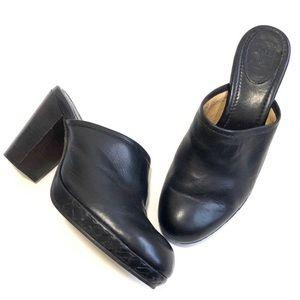Frye black leather Jessica Platform Clog